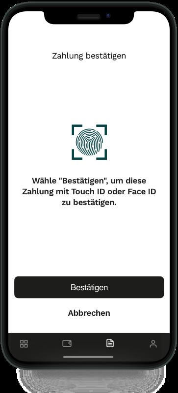 Online-Zahlungen direkt in der Holvi-App bestätigen: Screenshot der Authentifizierung per Fingerabdruck