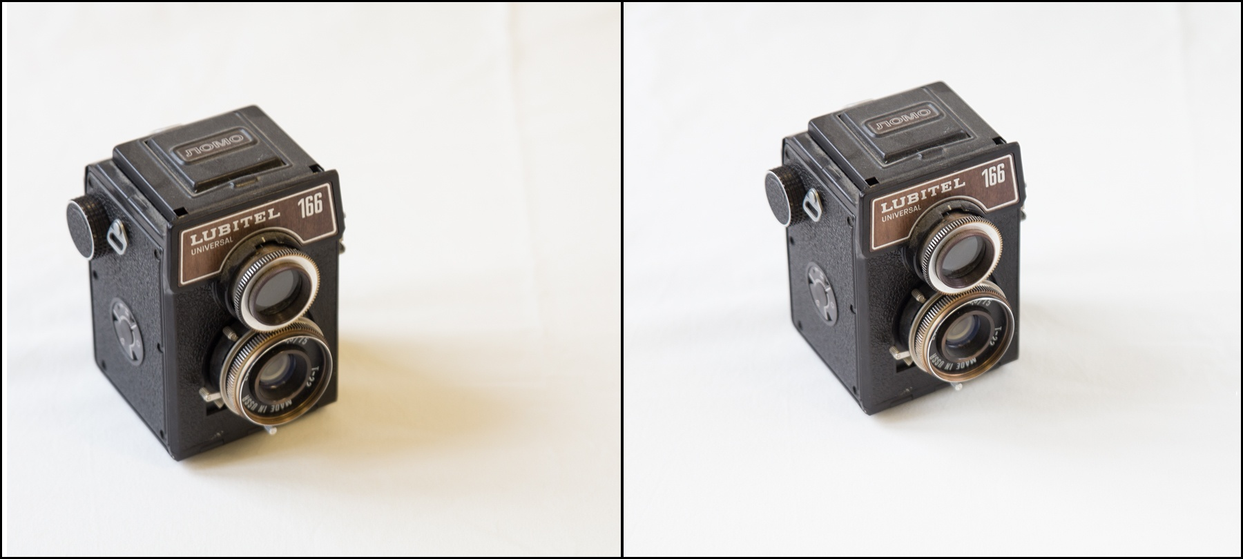 On the left a photo without a reflector, on the right the same photo with a reflector.