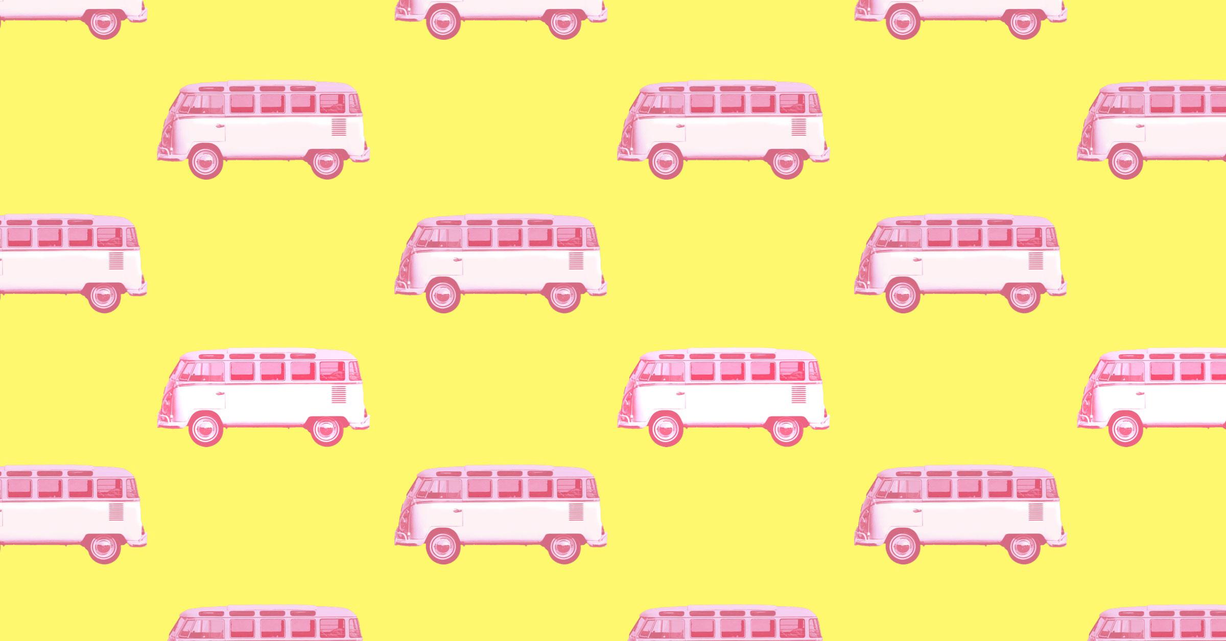 Pink camper van on yellow background