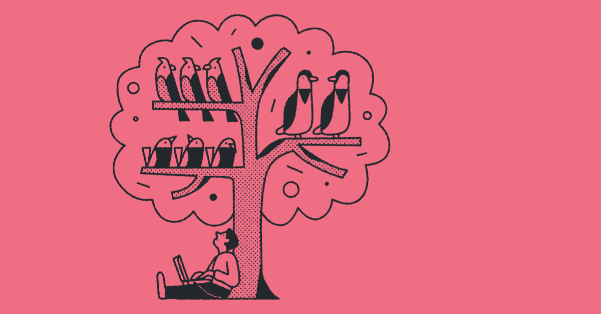 A cartoon man counting birds in a tree